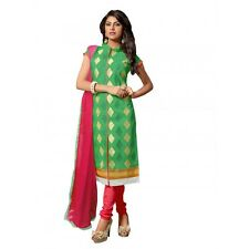 Eid Special Green Cotton Chanderi Churidar Suit - RSK1006B