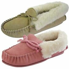 Ladies Womens Moccasin Slippers Leather Suede Pink Beige All Sizes