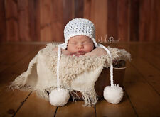 Hand Crochet Knitted Baby Hat Chunky Photo Prop Boy Pom Poms Blue Newborn- 12M