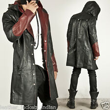 Men' new stylish genuine leather Long coat/jacket in Black color real bomber
