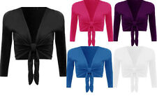 New Womens Ladies Long Sleeve Tie Front Bolero Cropped Shrug Top Cardigan