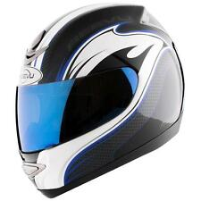 Reevu MSX1 Carbon Effect Graphic Blue Rear View Motorcycle Bike Scooter Helmet