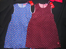 Oilily pinafore apron cord dress burgandy blue spot floral 3 4 5 6 years BNWT
