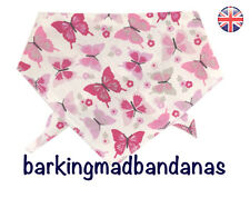 Handmade Dog Bandanas, 100% Cotton, Pink Butterfly, Dog Bandanas, Clothing UK