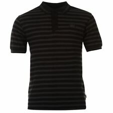Lonsdale Mens Yarn Dye Stripe Polo Shirt Black/Charcoal New With Tags