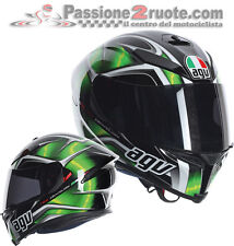 Casco integrale fibra moto Agv K5 K-5 Hurricane nero verde black green