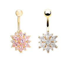 Belly Button Ring Crystal Rhinestone Flower Jewelry Navel Bar Body Piercing NiCE
