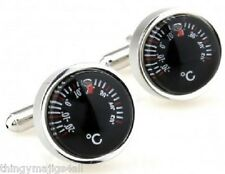 PAIR NEW SILVER WORKING THERMOMETER CUFFLINKS SHIRT NOVELTY GIFT UK SELLER