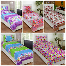 IndianOnlineMall 3D Single Bedsheet with One Pillow Cover
