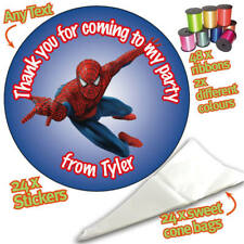 24 Personalised Spiderman Hero DIY Sweet Cone Ribbon Party Bags Kit Stickers 277