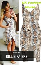 WOMENS CELEBRITY INSPIRED DRESS LADIES CAMI STRAP SNAKE PRINT MIDI BODYCON DRESS