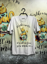T-SHIRT MAGLIETTA HAPPINESS IS OLD SCHOOL TATTOO HIPSTER INDIE CAT DONNA NUOVO