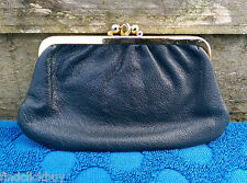 Vintage Leather Coin Purse Navy Blue, Brass Furnishings Kiss Klasp Dual Pocket