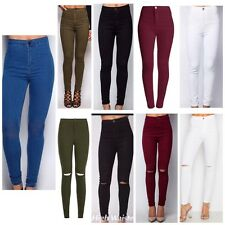 Ladies Womens Distressed Skinny HighWaist Ripped Jeans Jegging UK Plus Size 6-20