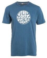 Rip Curl Wetty Logo  Mens T-Shirt in Dress Blue - On Sale Now