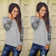 Trendy Stylish Sweet Girls Long Sleeve Women t-shirt Casual Crewneck geometric