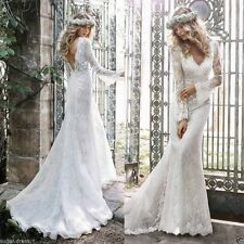 Long-sleeved lace wedding dress halter v-neck mermaid bridal gown white / ivory