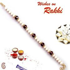Pearls and faceted Crystal Beads Bracelet Rakhi - BR16574