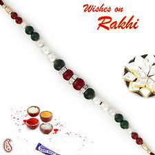Fabulous Green & Maroon Beads Bracelet Style Rakhi with Pearl & AD - BR16581