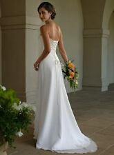 White ivory Chiffon Wedding Bridal dress Gown bridesmaid Dresses custom size