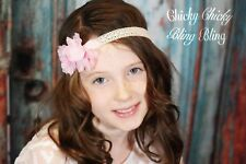 Woman Girl Hippie Lace Flower Headband elastic boho hot pink hair band gypsy