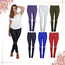 MUJER RASGADO VAQUEROS RODILLA RECORTADO JEGGINGS DENIM LEGGINGS BLANCO NEGRO