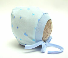 CUTE BLUE PRINTED BABY HAT WITH LACES NEWBORN, 0-3, 3-6, 6-12 MONTHS 100% COTTON