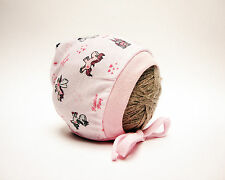 PINK PRINTED BABY HAT WITH LACES NEWBORN, 0-3, 3-6, 6-12 MONTHS 100% COTTON