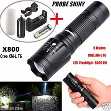 5000LM X800 G700 CREE XML T6 LED Flashlight 5-Mode Zoomable Outdoor Torch Lamp