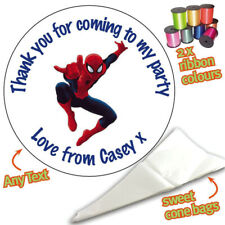 24 Personalised Spiderman Hero DIY Sweet Cone Ribbon Party Bags Kit Stickers 035