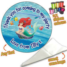 24 Personalised Little Mermaid DIY Sweet Cone Ribbon Party Bags Kit Stickers 334
