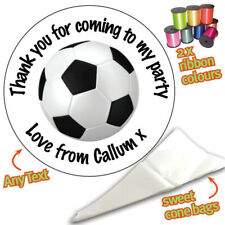 24 Personalised Football Ball DIY Sweet Cone Ribbon Party Bags Kit Stickers 012