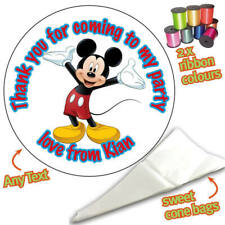 24 Personalised Mickey Mouse DIY Sweet Cone Ribbon Party Bags Kit Stickers 008