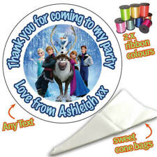 24 Personalised Frozen DIY Sweet Cone Ribbon Party Bags Kit Stickers 132