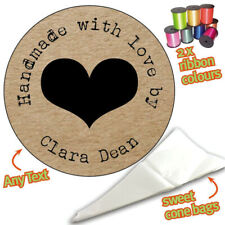 24 Personalised Shabby Heart DIY Sweet Cone Ribbon Party Bags Kit Stickers 449