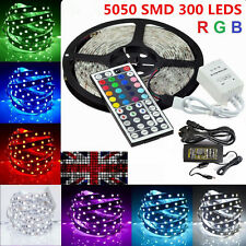 Waterproof 5M 10M 5050 SMD RGB 300 Led Strip Flexible Light Remote Adapter Kit