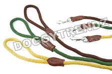 COTTON ROPE DOG LEAD LEASH NATURAL RECYCLABLE BROWN BEIGE GREEN STRONG SOFT