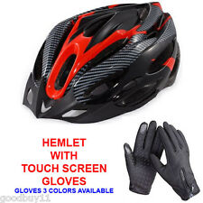NEW Adult Bike Bicycle Cycle Safety Helmet & Touch Screen Waterproof Gloves