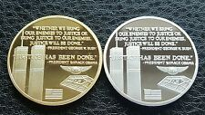 COMMEMORATIVE GOLD & SILVER PLATED BULLION COINS 911 TWIN TOWERS