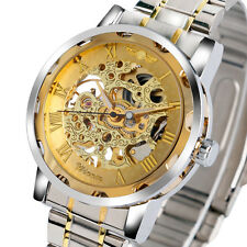 Winner Stainless Steel Skeleton Mechanical Business Analog Wrist Watch Men Women