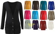 New Women Ladies Button Up Boyfriend Cardigan Top Long Sleeve Jumper 8-26
