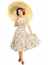 New Vintage 50s Style Dolores Atomic Flamingo Swing Dress Rockabilly Pin Up