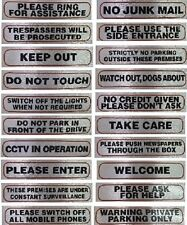 Information Signs No Junk Mail, Keep Out, Take Care etc Self Adhesive Material