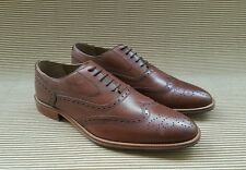 M&S Luxury Collection Dark Tan Leather Brogue Shoes UK8,10 Authentic w/o box new