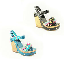 WOMENS LADIES FLORAL PLATFORM HIGH HEELS SANDALS ESPADRILLES SHOES SIZE 3-8