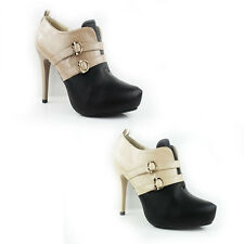 WOMEN'S LADIES BUCKLE FASHION HIGH STILETTO HEELS COURT SHOES SANDALS SIZE 3-7