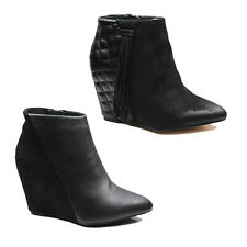 WOMENS LADIES TASSLE DETAILS CONCEALED WEDGE ANKLE BOOT BOOTS SHOES SIZE 2-8