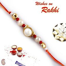 Pearl and Gold Beads Handcrafted Mauli Rakhi - PRL16525