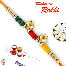 Colorful Beads Rakhi with 2 Small Bells - RB16623