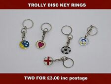 TWO TROLLY KEY RING DISC ASSORTED DESIGNS